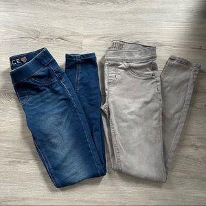 Justice Girl's Blue & Grey Jeggings/Leggings Bundle of 2 - Size 10